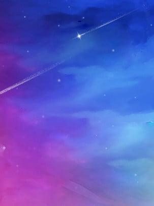 푸른 여름 밤 별이 총총한 하늘 배경 일러스트 레이션 , 여름, 별이 빛나는 하늘, 야경 배경 이미지