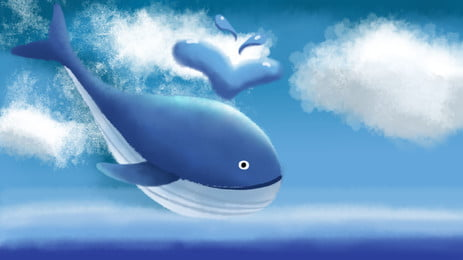 Blue Water Jet Whale Ocean Fresh Background, Blue, Water Spray, Whale, Background image