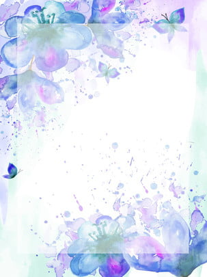 Blue Watercolor Hand Painted Flower Background, Blue, Watercolor, Fresh, Background image