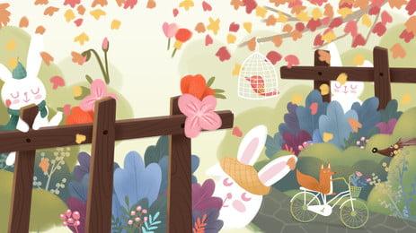 hàng rào viện bé nhỏ của nền hoạt hình, Hoạt Hình, Thỏ Con, Màu Ảnh nền