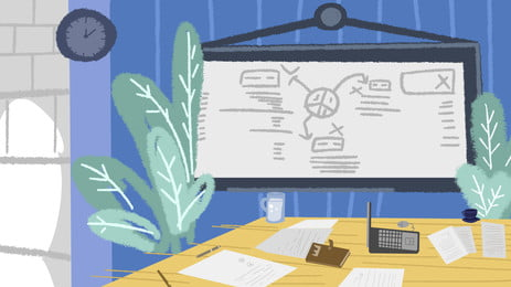 Business Meeting Background Cartoon Material Background,cartoon,hand Painted,business Background,business, Meeting, Background, Illustration, Background image