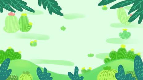 仙人掌植物插畫背景, 綠色, 植物, 仙人掌 背景圖片