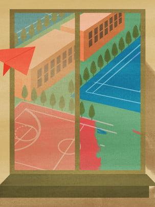 キャンパスの風の紙飛行機の運動場の建築の背景 , Pspd背景素材, アイデアの背景, 広告 背景画像