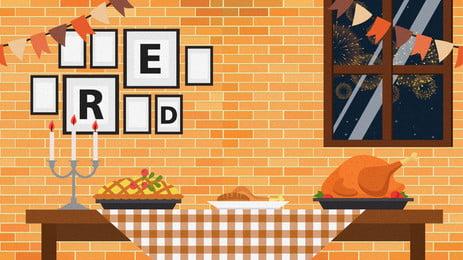 キャンドルライトディナーの漫画の背景, ろうそくの光, 夕食, イエロー 背景画像