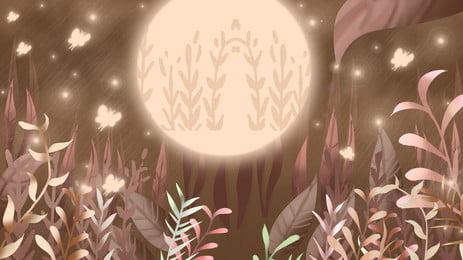 漫画美しい秋の森の夜背景デザイン 漫画 美しい背景 秋の背景 背景画像