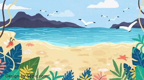कार्टून रंगीन समुद्र तट रेत गर्मियों की पृष्ठभूमि डिजाइन, रंगीन पृष्ठभूमि, बीच की पृष्ठभूमि, बीच की यात्रा पृष्ठभूमि छवि
