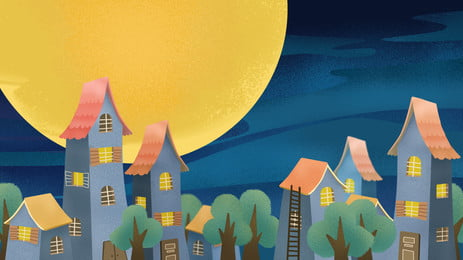 Cartoon Cute City Night Architecture Background Design Background,lovely,illustration Background Design,city,building,night,poster, Background, Banner, Background, Background image
