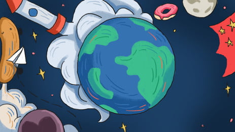 Cartoon Cute Earth Technology Background Design Background,lovely,earth,planet,universe,technology Background,advertising Background,background, Material, Psd, Background, Background image