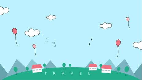 Cartoon dễ thương bầu trời cỏ tối giản thiết kế nền Phim Hoạt Hình Hình Nền