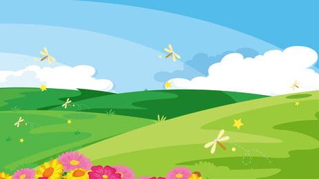 Phim hoạt hình dễ thương cỏ muộn trên nền minh họa Phim Hoạt Hình Hình Nền