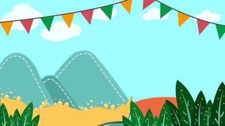 Cartoon dễ thương đồng cỏ xanh bầu trời minh họa thiết kế nền Phim Hoạt Hình Hình Nền