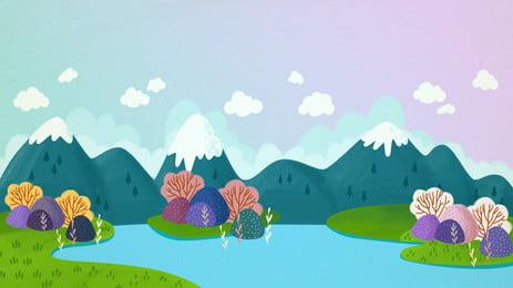 Cartoon dễ thương sông núi thiết kế nền minh họa Phim Hoạt Hình Hình Nền