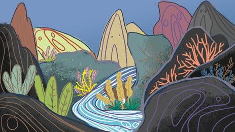 Cartoon thiết kế nền suối dễ thương Phim Hoạt Hình Hình Nền