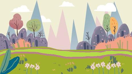 漫画森林植物公園の広告の背景, 森, 植物, 公園 背景画像