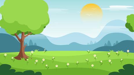 hoạt hình vẽ minh họa cho nền rừng rừng tươi mát vào mùa xuân, Banner Nền, Hoạt Hình, Bằng Tay Ảnh nền