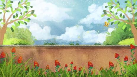 Cartoon vườn xanh bầu trời minh họa thiết kế nền Phim Hoạt Hình Hình Nền