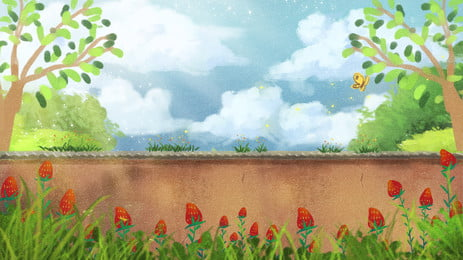 कार्टून उद्यान नीला आकाश चित्रण पृष्ठभूमि डिजाइन, कार्टून, हाथ खींचा हुआ, उद्यान पृष्ठभूमि छवि