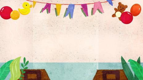 Phim hoạt hình tốt nghiệp mùa bunting gấu nền Bong bóng Vịt Mùa tốt Tạo Tài Liệu Hình Nền