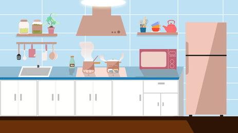 Material de fundo cozinha home dos desenhos animados Cozinha Fogão Utensílios Imagem Do Plano De Fundo