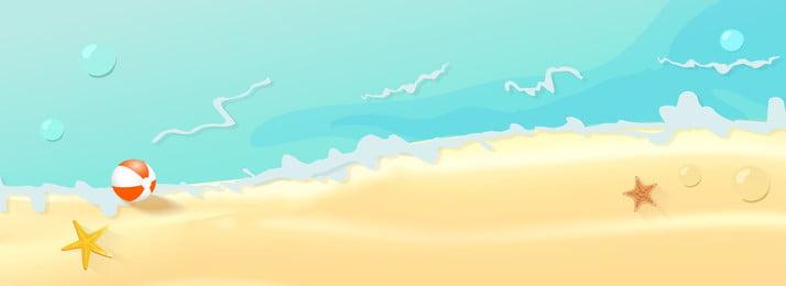 Kreskówka romantyczny plażowy woda morska sztandaru tło Rozgwiazda Baner internetowy Lato Kreskówka Ręcznie rysowane Woda Rozgwiazda Baner Morska Obraz Tła