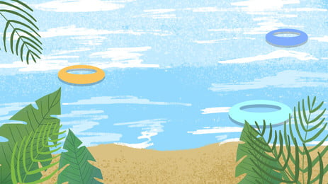 Cartoon Sea Beach Summer Vacation Travel Background Design Background,sea,beach,trees,leaf,swimming Ring,poster Background,banner, Background, Advertising, Background, Background image