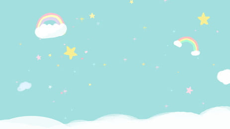 Cartoon Stars Rainbow Sky Background Material, Rainbow, Star, Starry Sky, Background image