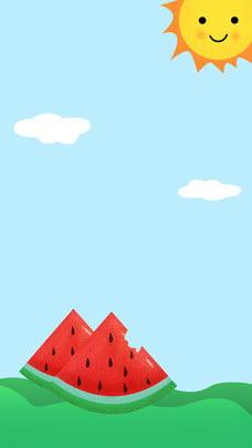 Cartoon mùa hè mặt trời đám mây poster thiết kế nền Nền Màu Xanh Hình Nền
