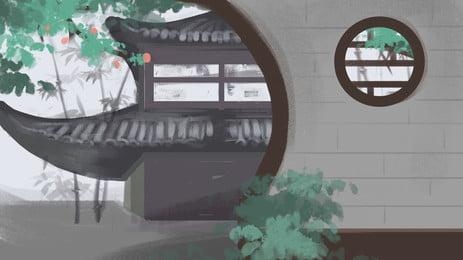 中國古代建築樓閣花草背景, 中國, 古代, 建築 背景圖片