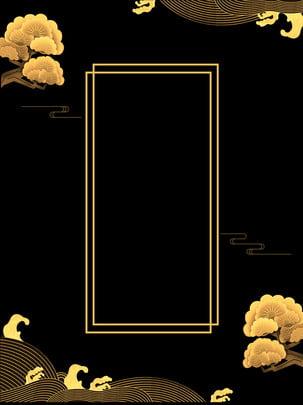 중국어 골동품 라인 블랙 골드 배경 , 중국, 고대 스타일, 선 배경 이미지