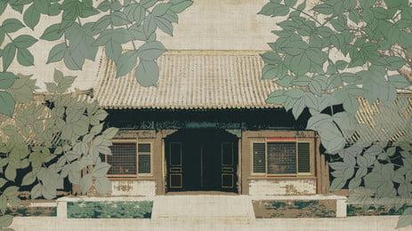 arquitetura clássica chinesa verde folhas fundo, China, Clássico, Edifício Imagem de fundo