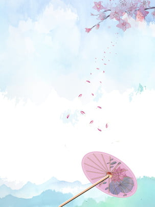 chinese style ancient traditional ink watercolor peach flower poster background , Chinese Style, Antiquity, Traditional Background image