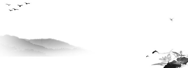 中國風古風水墨山水banner背景 中國風 古風 水墨背景圖庫