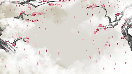中国風の美しい白い雲落葉背景デザイン 中華風 空 美しい背景 背景画像