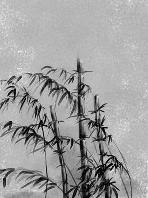 中國風水墨竹子黑色灰色 , 中國風, 水墨, 竹子 背景圖片