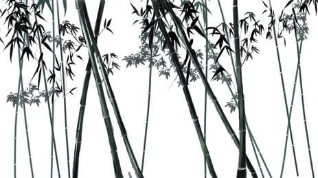中國風水墨綠色竹林卡通背景, 中國風, 水墨, 綠色 背景圖片