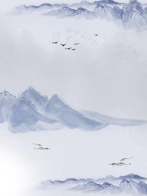 Fundo de publicidade de pintura chinesa Fundo de publicidade de pintura chinesa Pintura de paisagem Do Clássica Rio Imagem Do Plano De Fundo
