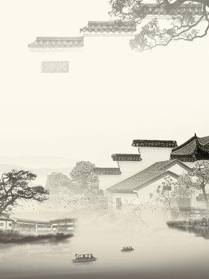 Chinesische art tinte landschaft jiangnan charakteristischer wohnhintergrund Chinesischer Stil Tinte Hintergrundbild