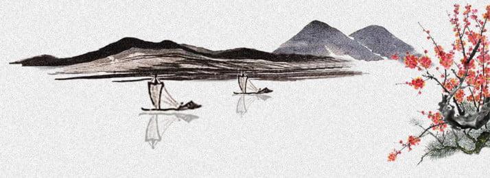 中國風水墨山水梅花背景 中國風 水墨 山水背景圖庫