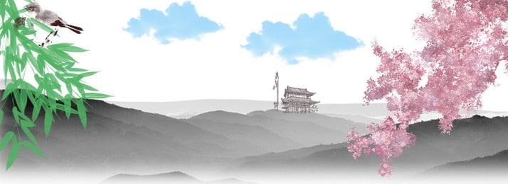 中國風水墨畫竹子花雲朵亭台水榭, 中國風, 水墨, 竹子 背景圖片