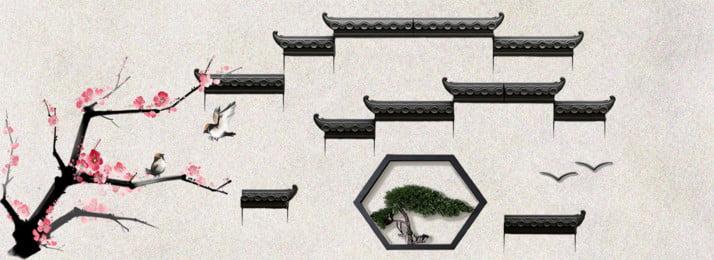 中國風水墨江南徽派建築背景, 中國風, 水墨, 江南 背景圖片