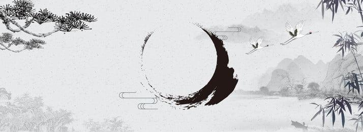 中華風インクポスターの背景 中華風 インク 景観 背景画像