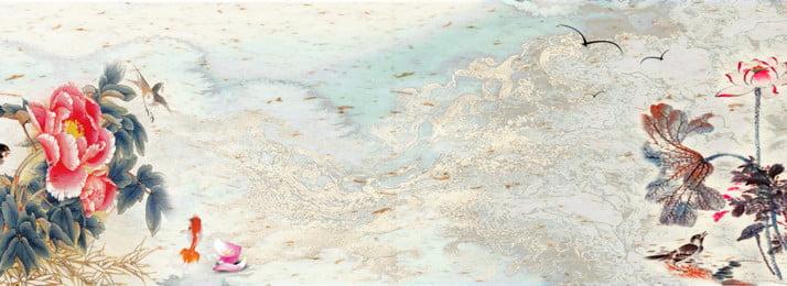 中国風インク水彩ロータス牡丹背景, 中華風, インク, 水彩画 背景画像