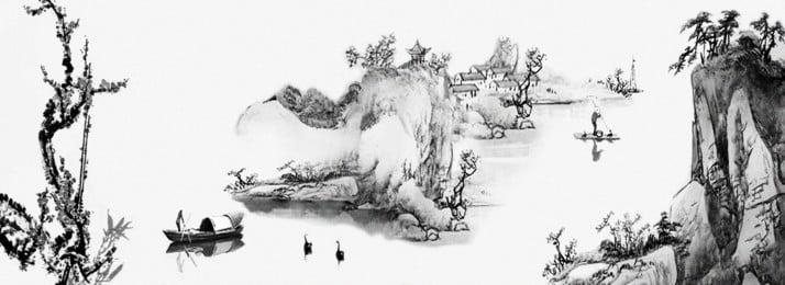 중국 스타일의 잉크 수채화 매화 풍경, 중국 스타일, 잉크, 수채화 물감 배경 이미지