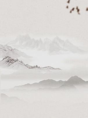 चीनी शैली परिदृश्य पानी की भूसी पक्षी पृष्ठभूमि सामग्री पोस्टर , चीनी शैली, स्याही, चावल का कागज पृष्ठभूमि छवि