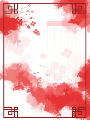 中國風紅色喜慶漸變窗框花雲鳥背景 紅色 喜慶 窗框背景圖庫