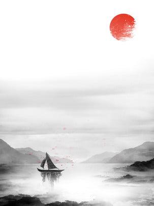 latar belakang landskap dakwat klasik gaya cina , Gaya Cina, Landskap Dakwat, Klasik imej latar belakang