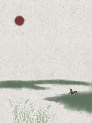 Trung quốc wind ink butterfly red day Phong Cách Trung Hình Nền