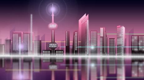 thành phố cao tầng xây hồ nước màu hồng nền hoạt hình, Thành Phố, Nhà Cao Tầng, Tòa Nhà Ảnh nền
