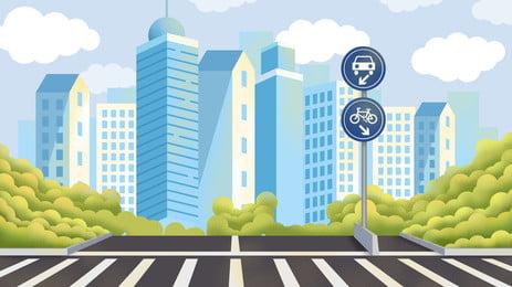 reka bentuk latar belakang ilustrasi jalan raya bandar, Latar Belakang Segar, Tangan Ditarik, Kartun imej latar belakang