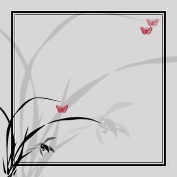 古典的な中国風のインク蘭の背景素材 , インク, 蘭, 蝶 背景画像